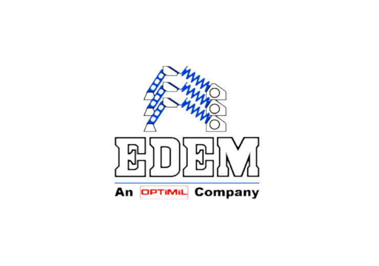 EDEM vibrating conveyors company logo as part of the Optimil Machinery Inc brand