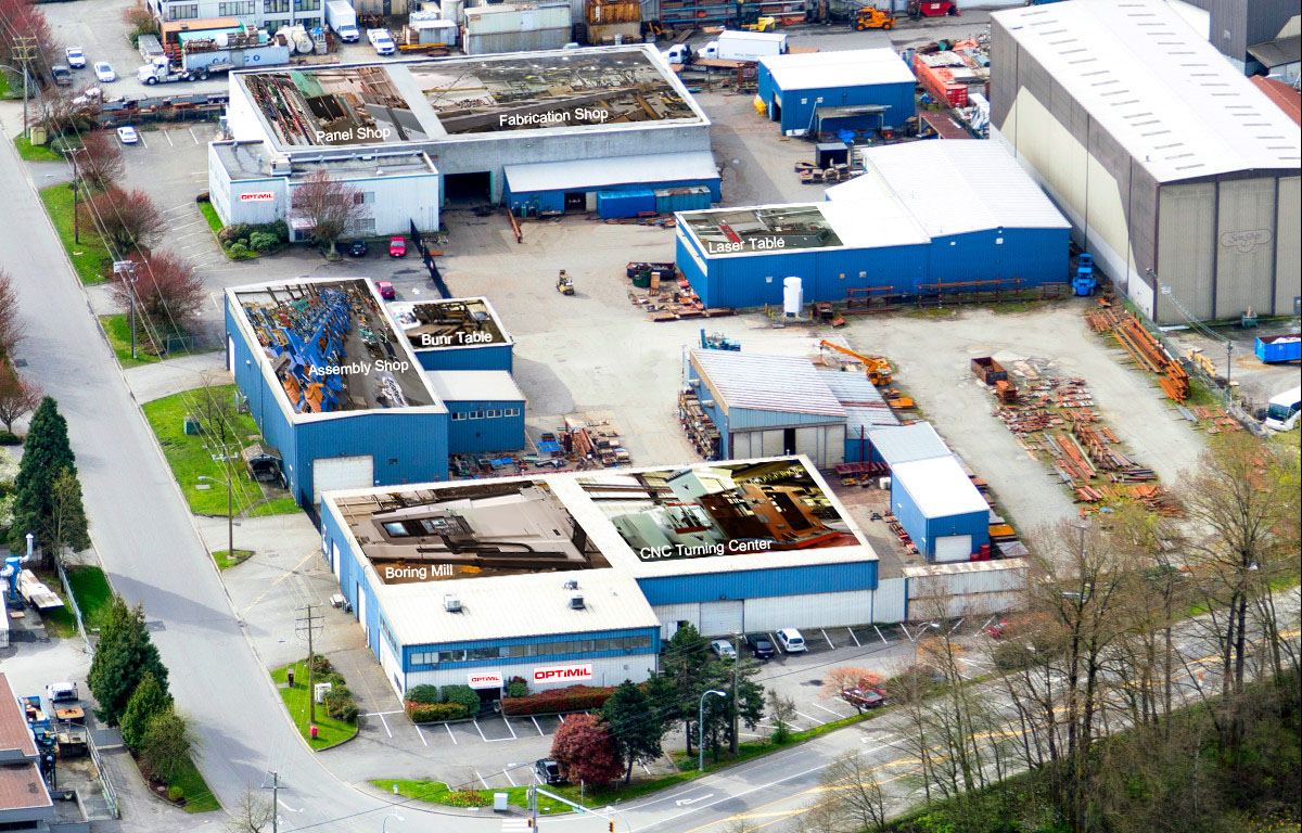 Photo of Optimil location in Delta including the Panel shop, Assembly shop, fabrication shop etc.