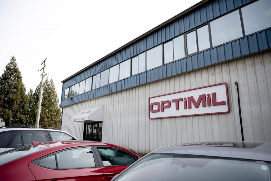 Building of Optimil Machinery, producer of sawmill machinery and log processing equipment